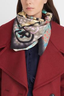 Шерстяной шарф с принтом Gucci Ghost