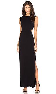 Стрейчевое макси платье из вискозы с вырезом - twenty