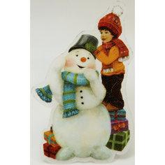 """Украшение """"Снеговик и мальчик"""" со светодиодной подсветкой Magic Time"""