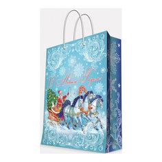 """Подарочный пакет """"Дед Мороз на тройке"""" 40,6*48,9*19 см Magic Time"""
