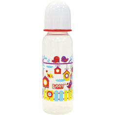 """Бутылочка с соской """"Малыши и малышки"""" от 0 мес., 250 мл., LUBBY, красный"""