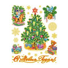 """Новогодняя наклейка из ПВХ, 30х38см, """"Новогодние игрушки"""" -"""