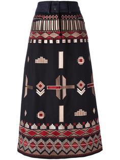ethnic embroidery mid skirt Vilshenko