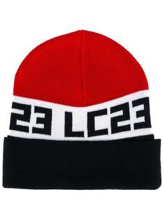 шапка-бини вязки интарсия с логотипом Lc23