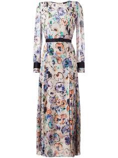 плиссированное платье с цветочным принтом Giorgio Armani