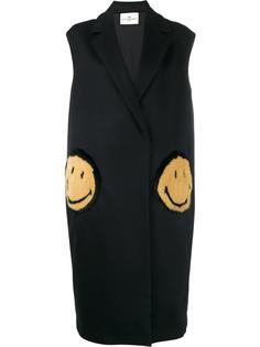 smiley patch sleeveless coat Anya Hindmarch