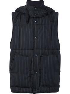 pinstripe padded gilet Engineered Garments