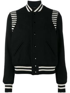 укороченная куртка с полосатой окантовкой Saint Laurent