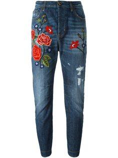 джинсы с вышивкой роз  Twin-Set