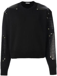 трикотажный свитер с кожаными панелями Givenchy