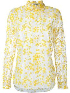 прозрачная рубашка с цветочной вышивкой Carven