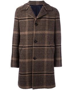 фактурное пальто в клетку Mp  Massimo Piombo