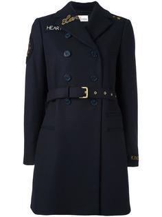 двубортное пальто  с заплатками Red Valentino