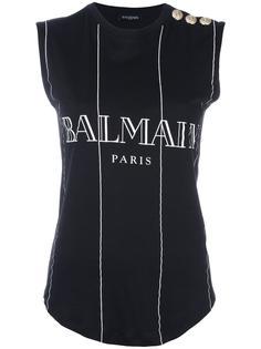 топ в полоску с логотипом Balmain