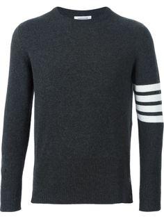 свитер с контрастными полосками на рукаве Thom Browne