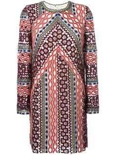 платье с узором и длинными рукавами Tory Burch