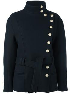 куртка со смещенной застежкой и поясом Balmain