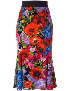 юбка с цветочным принтом  Dolce & Gabbana