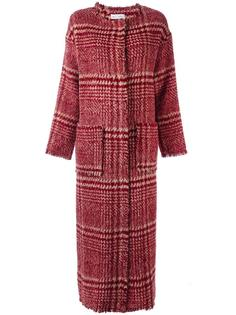 длинное пальто в клетку Weili Zheng