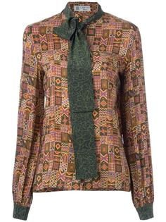 70s necktie checked shirt Lanvin Vintage
