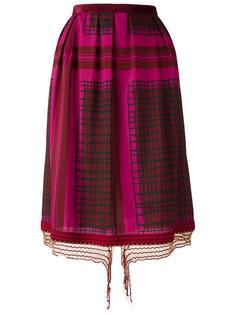 юбка миди с геометрическим принтом Sacai