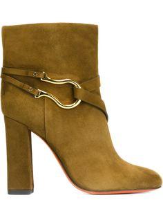 ботинки с золотистой деталью Santoni