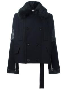 fur collar peacoat Sacai