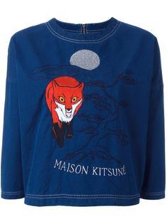 укороченный топ с вышивкой Maison Kitsuné