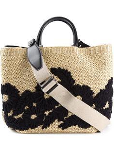плетеная сумка-тоут с цветочным узором  Ermanno Scervino