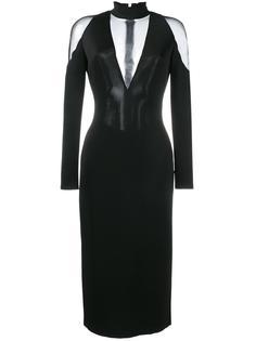 платье с полупрозрачными вставками Balmain