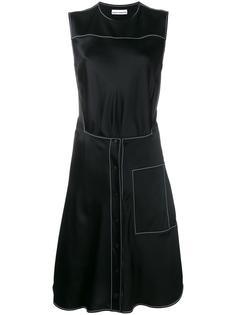 платье длины миди с декоративной строчкой Paco Rabanne