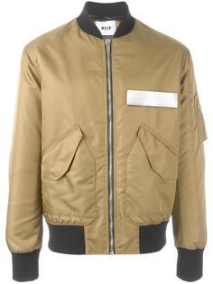 куртка бомбер с контрастной деталью MSGM