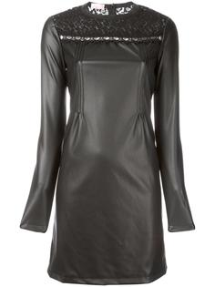 leather effect lace detail dress Giamba