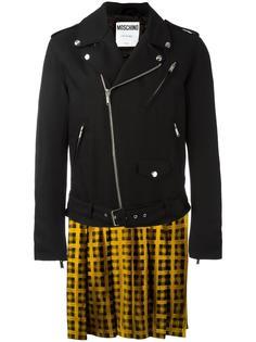 байкерская куртка с эффектом тромплей Moschino