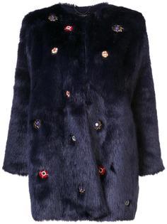 fur effect mid coat Saloni