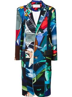 multi-print buttoned coat Julien David