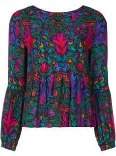 abstract print ruffled blouse Nicole Miller