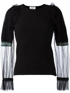 блузка в рубчик с прозрачными рукавами Aviù