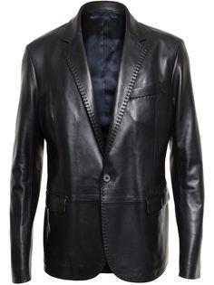 кожаный пиджак строгого кроя Lanvin