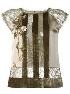полосатая блузка с цветчоным кружевом Alberta Ferretti