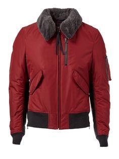 куртка-бомбер с воротником из меха бобра Lanvin