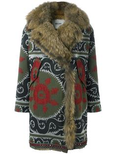 fur lined patterned coat Bazar Deluxe
