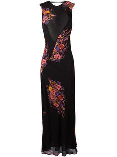 длинное платье с цветочным принтом Etro