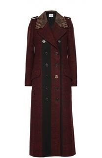 Двубортное пальто в клетку с декоративной отделкой Sonia Rykiel