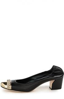 Кожаные туфли с металлической вставкой Casadei