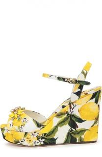 Парчевые босоножки на танкетке с принтом Dolce & Gabbana
