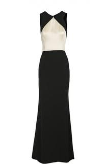 Приталенное платье в пол с открытой спиной St. John