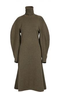 Шерстяное приталенное платье с широкими рукавами и высоким воротником Balenciaga