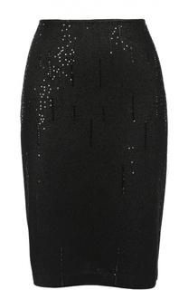 Вязаная юбка-миди с декоративной отделкой пайетками и стразами St. John