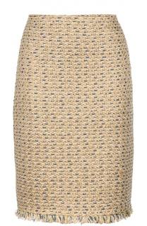 Буклированная юбка-карандаш с бахромой St. John
